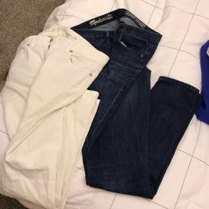 27 waist Madewell skinny jeans & LOFT slim whites